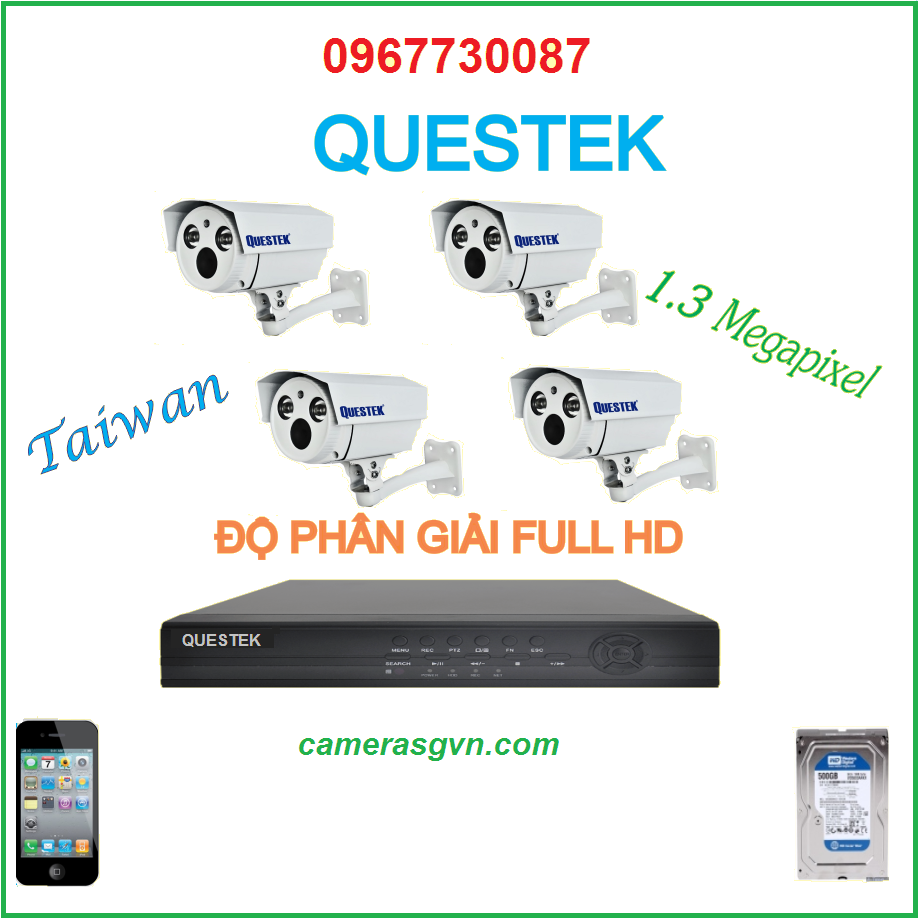 Bộ 4 Camera Questek 3701AHD