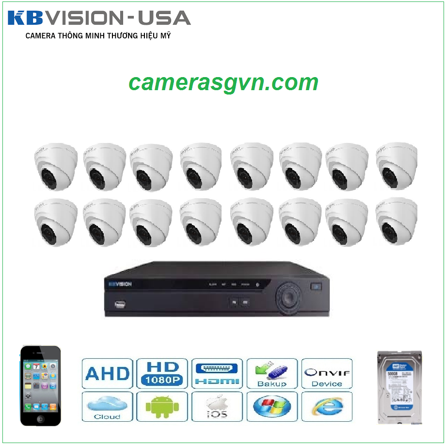 Trọn bộ 16 Camera KBVISON 1004C