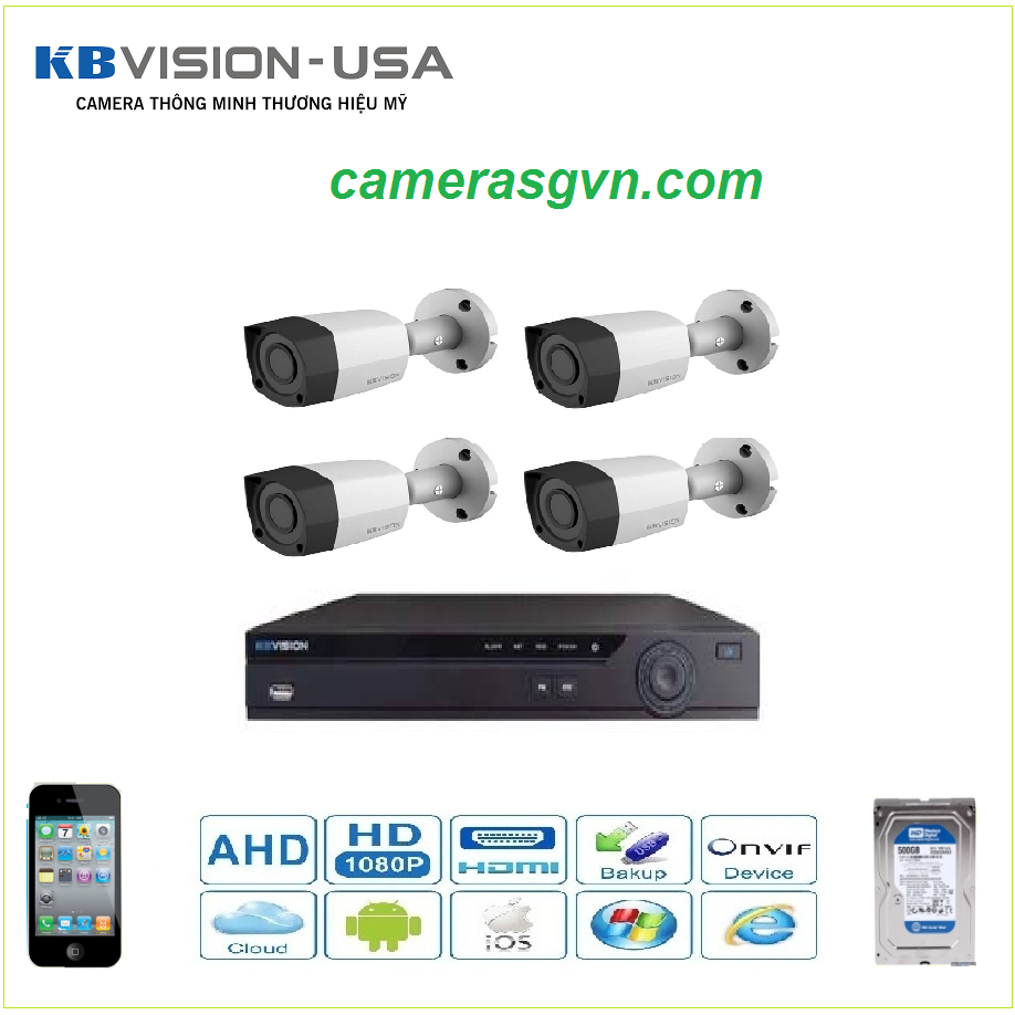 Trọn bộ 4 Camera KBVISON 1301C