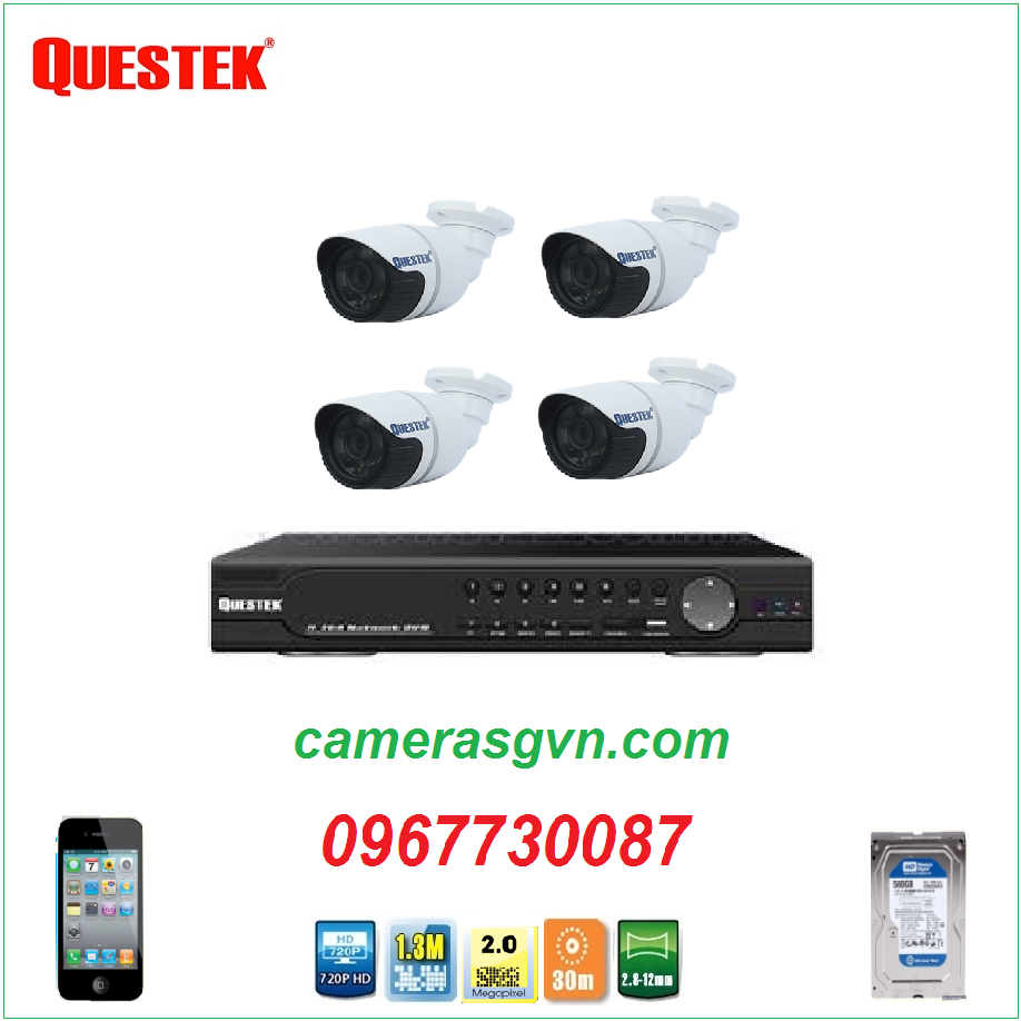 Trọn bộ 4 camera Questek QN-2123AHD/H