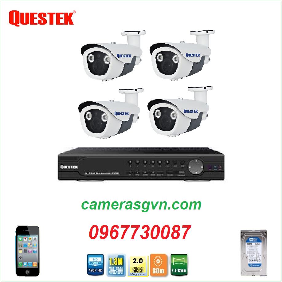 Trọn bộ 4 camera Questek QN-3602AHD