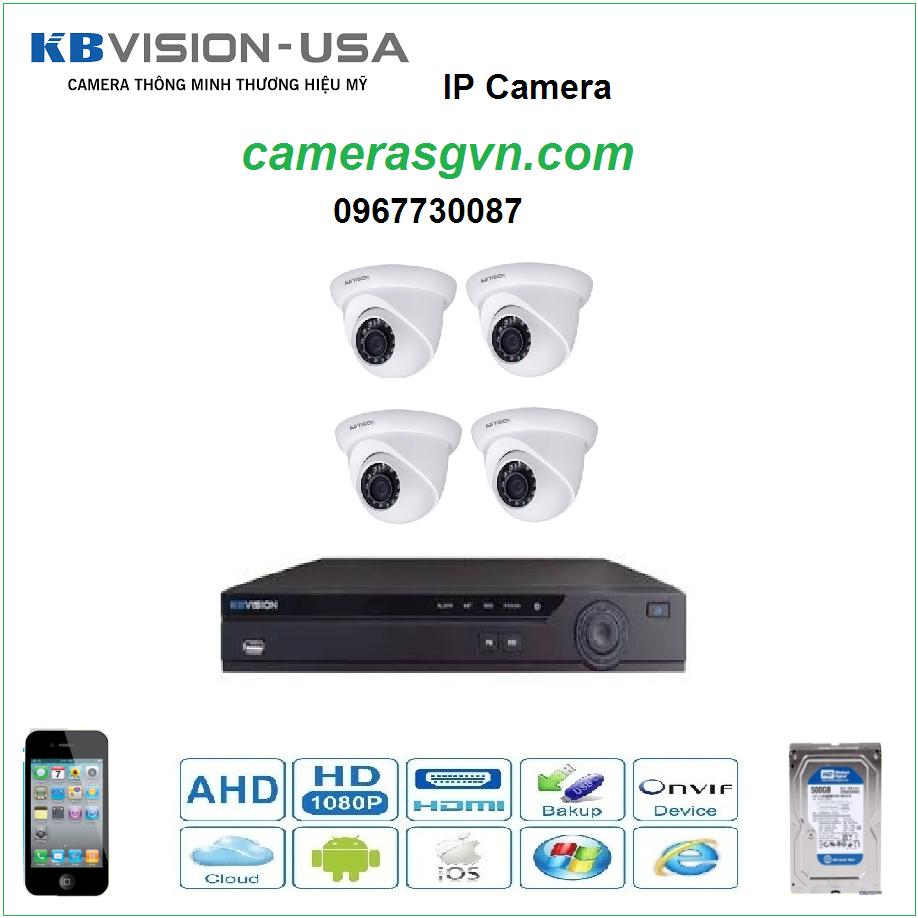 Trọn bộ 4 Camera KBVISON KB-1302N