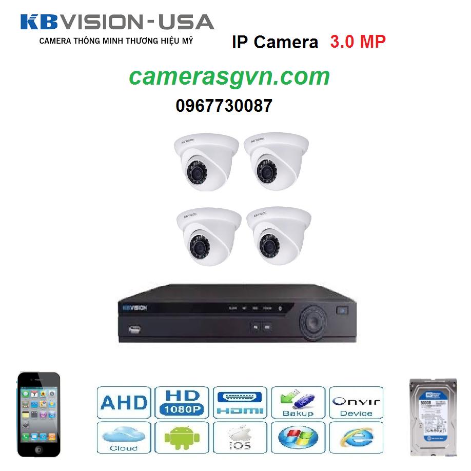Trọn bộ 4 Camera KBVISON KB-3002N