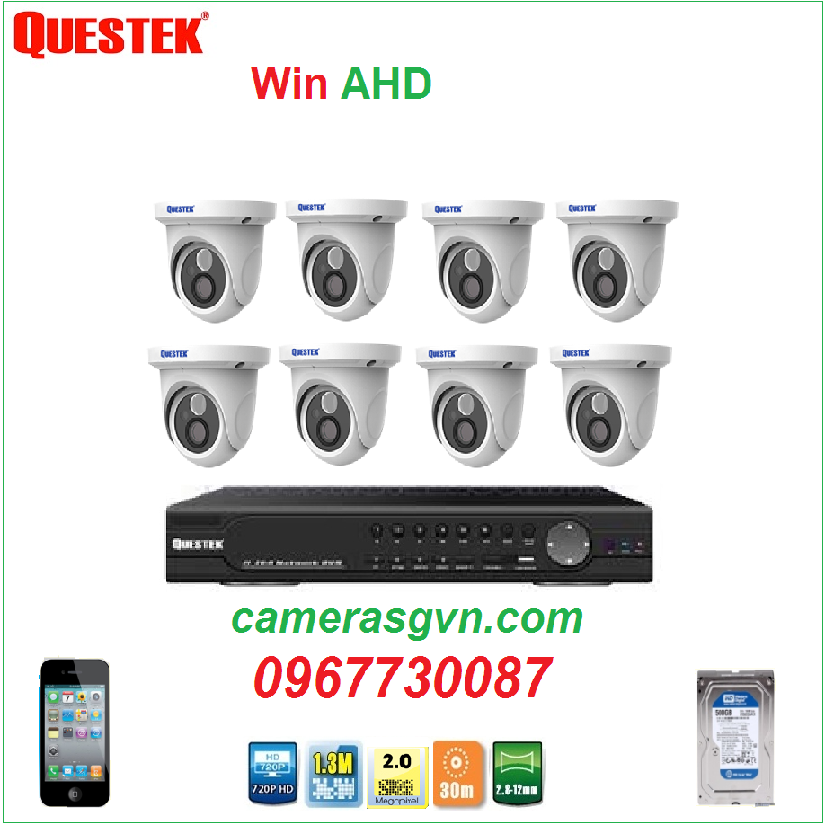 Trọn bộ 8 Camera QUESTEK Win-6022AHD