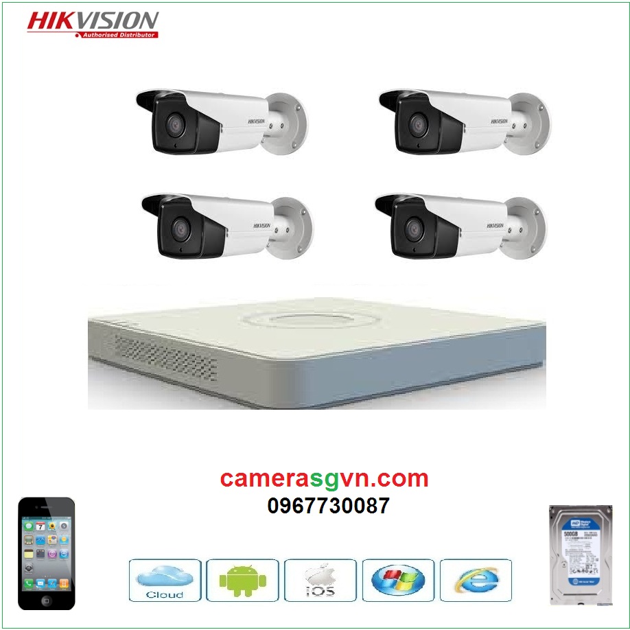 Trọn bộ 4 camera DS-2CE16C0T-IT3
