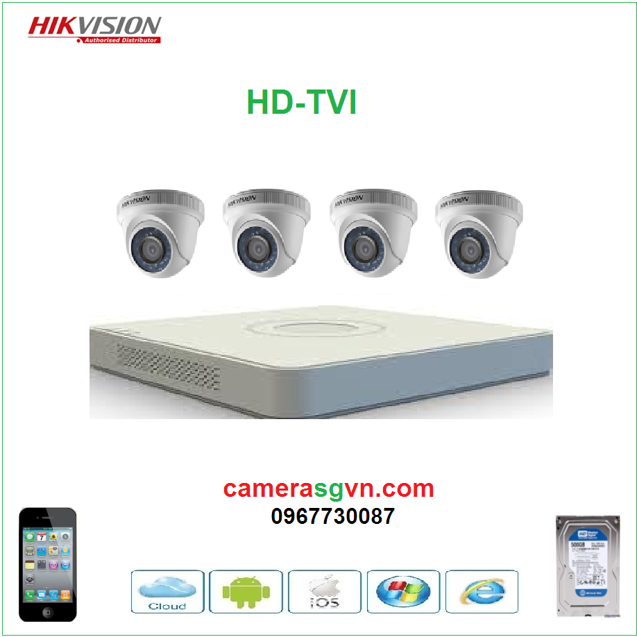 Trọn bộ 4 camera TVI HIKVISION DS-2CE56D0T-IRP