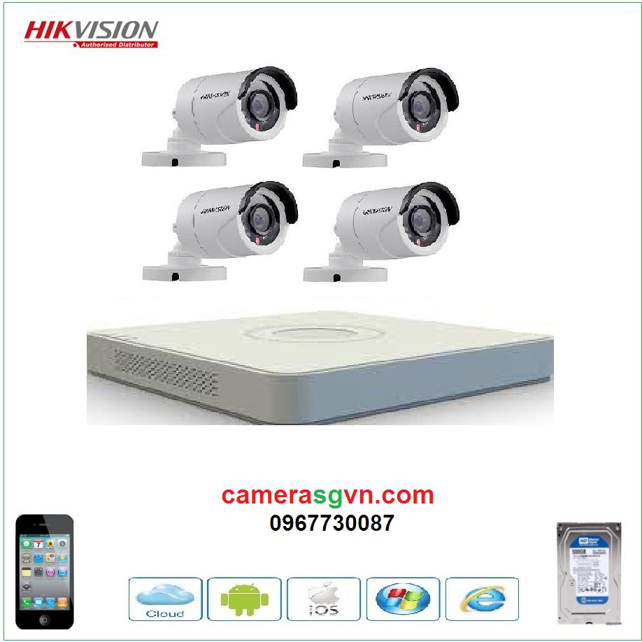 Trọn bộ 4 camera TVI HIKVISION DS-2CE16D0T-IRP