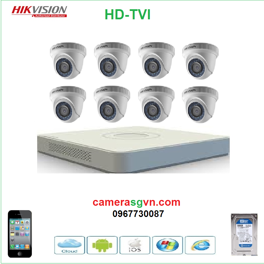 Trọn bộ 8 camera TVI HIKVISION DS-2CE56D0T-IRP